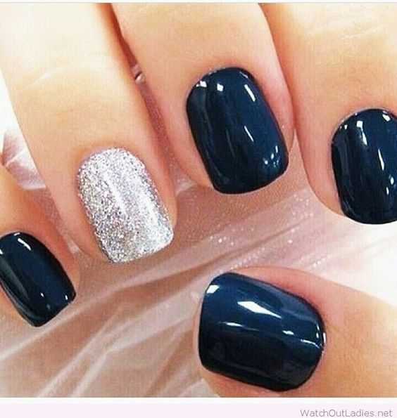 Navy and silver Christmas nail art