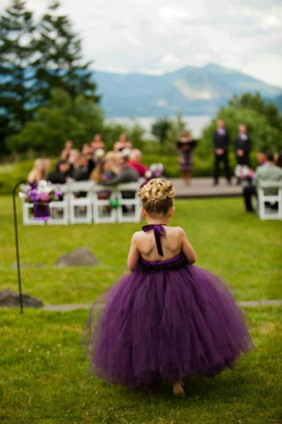 Perfectly Plum Tutu flower girl Dress