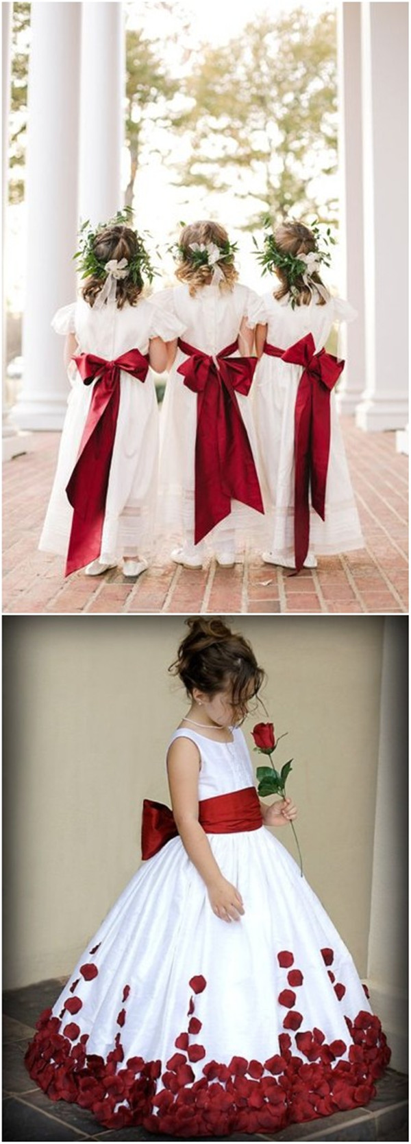 Red and White Flower girl dresses