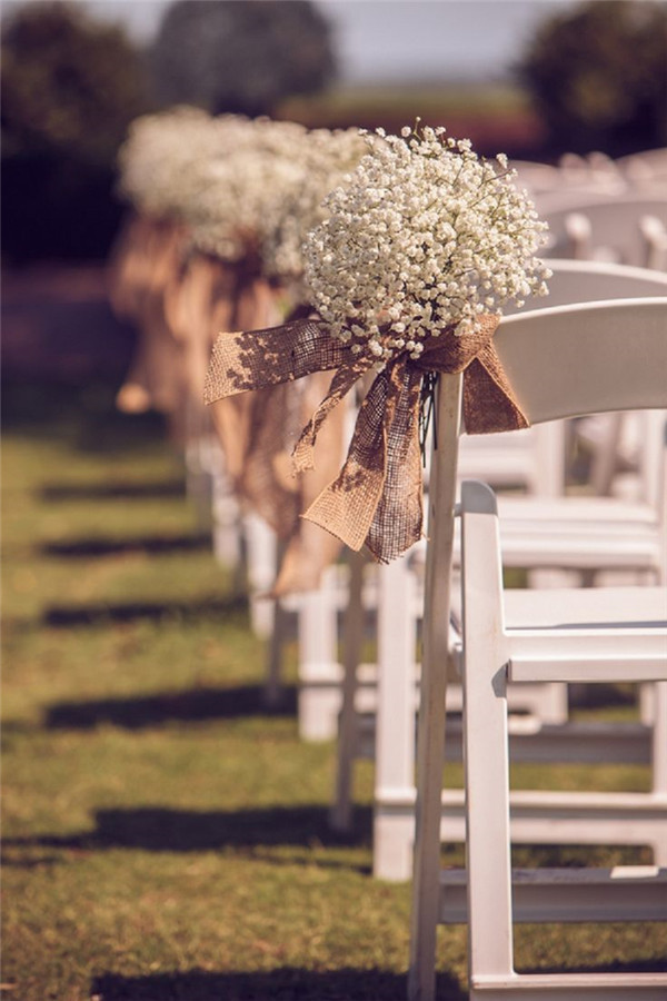 Rustic and Romantic Burlap and Peach Wedding decorations