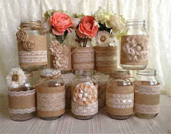 Rustic burlap and lace covered mason jar vases wedding decoration