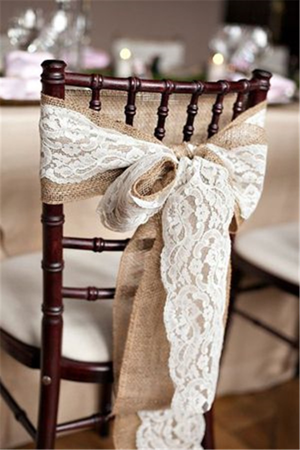 Rustic burlap chair cover decorations