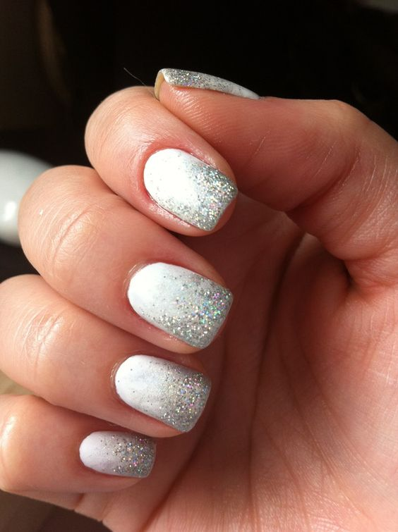 Silver and white ombre Wedding Nails