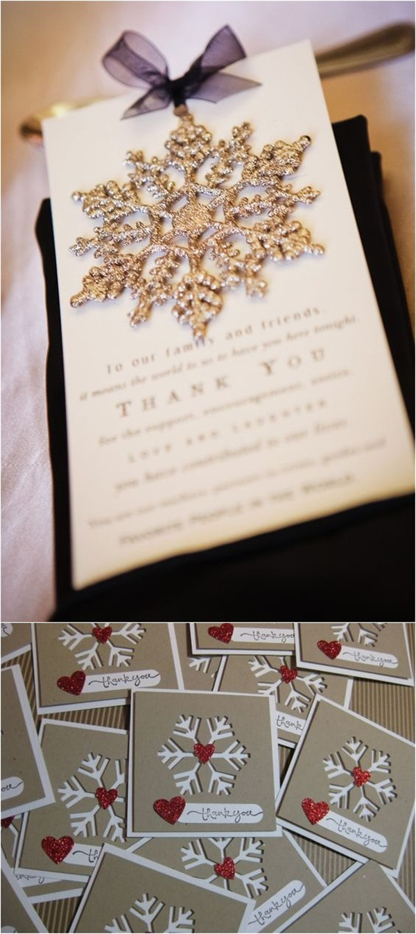 Snowflake Christmas Wedding thank you n otes