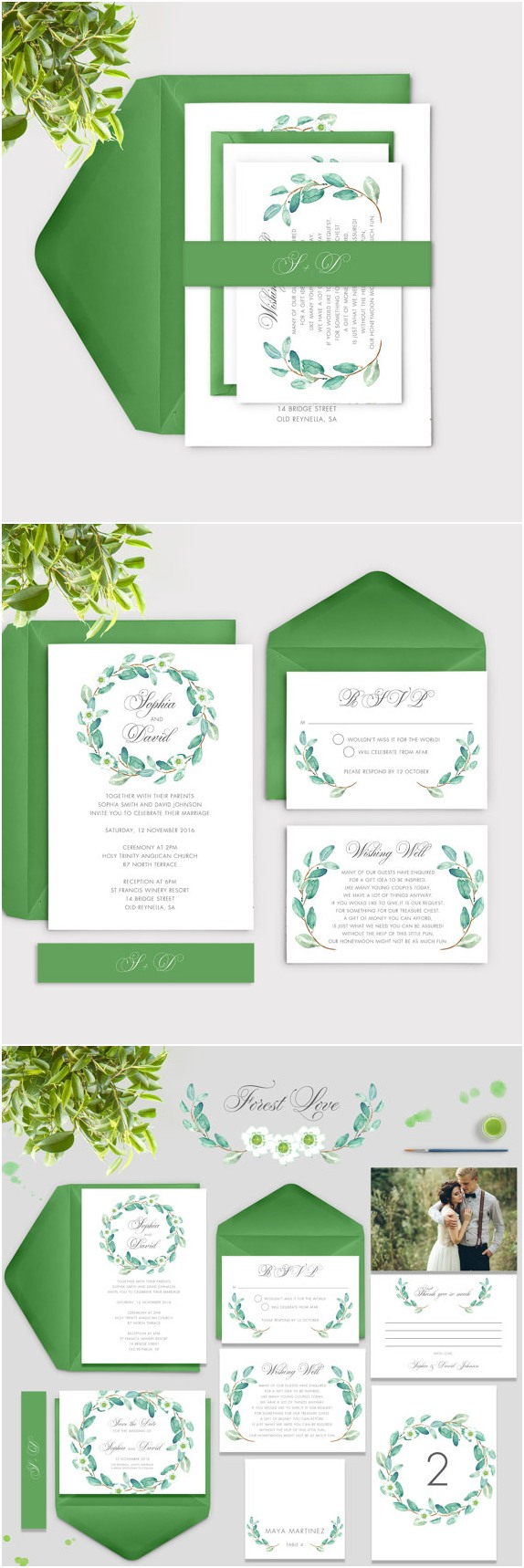 Spring Watercolour Leaves wedding invitations