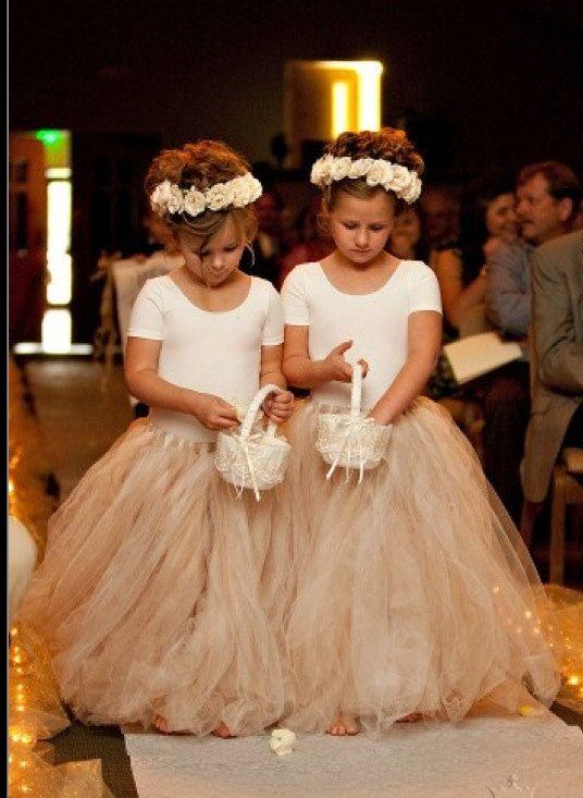 Toddler and Child Full Length Ivory Flower girl dresses