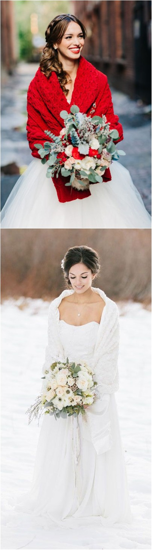 White and Red Christmas Wedding Dress