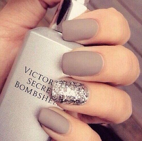 matte taupe manicure with a silver glitter accent nail
