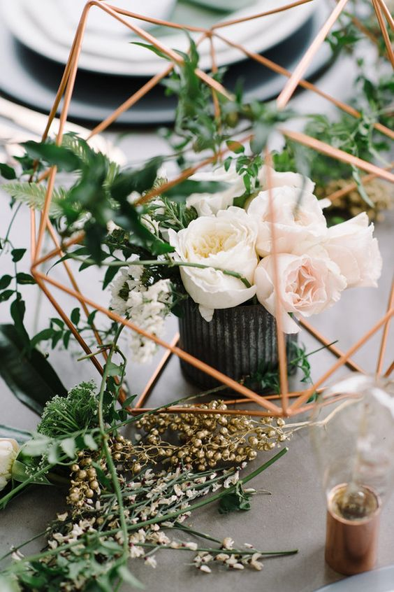 Copper greenery industrial modern wedding centerpiece