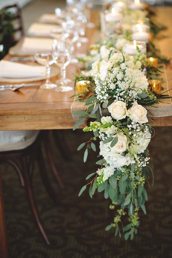 Color of the year greenery wedding centerpiece