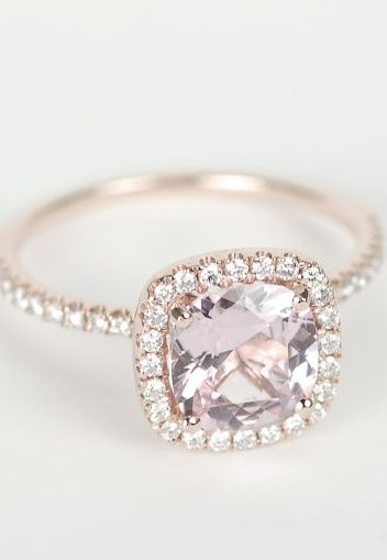 Peach Pink Cushion Sapphire Diamond Halo Engagement Ring