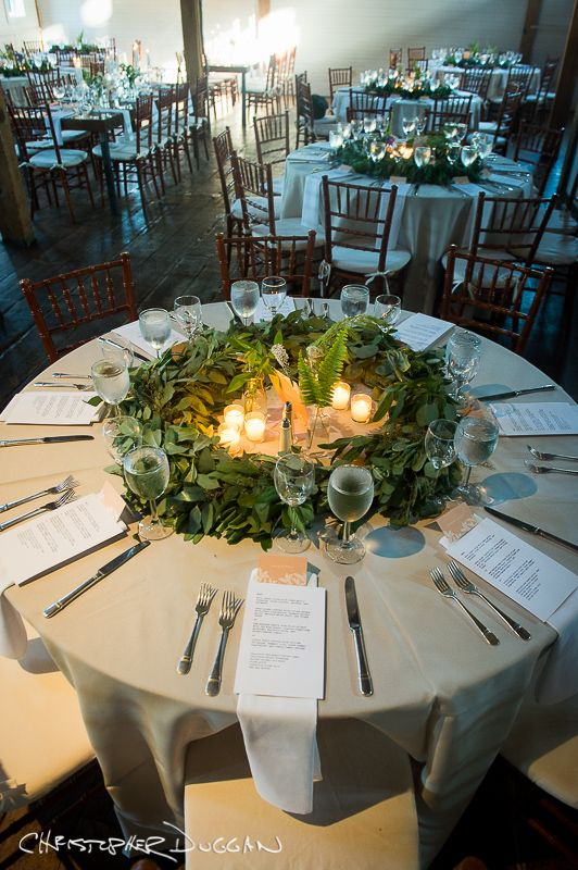 Perfect Greenery wedding centerpiece for a round table