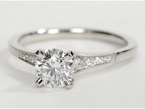 Petite Milgrain Diamond Engagement Ring in Platinum