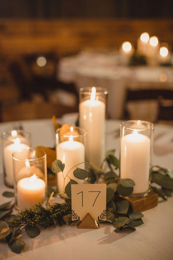 modern romantic Greenery wedding centerpiece