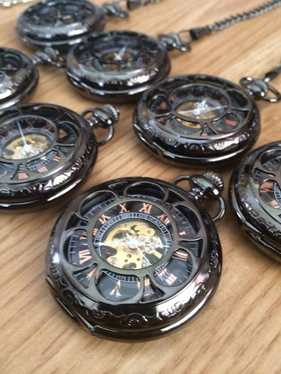 Black Pocket Watches Personalized Groomsmen Gift