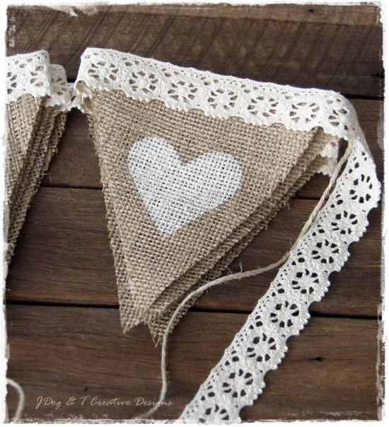 Burlap LACE BUNTING COUNTRY VINTAGE SHABBY WEDDING DECORATIONS