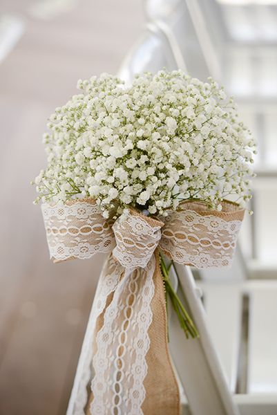 Burlap Lace And Babys Breath Wedding Aisle Chair Decor