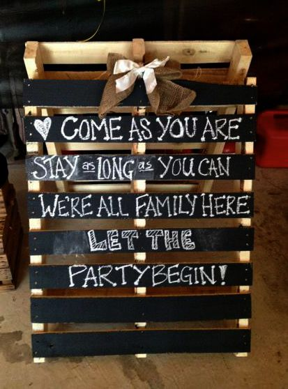 Chalk sign for engagement party