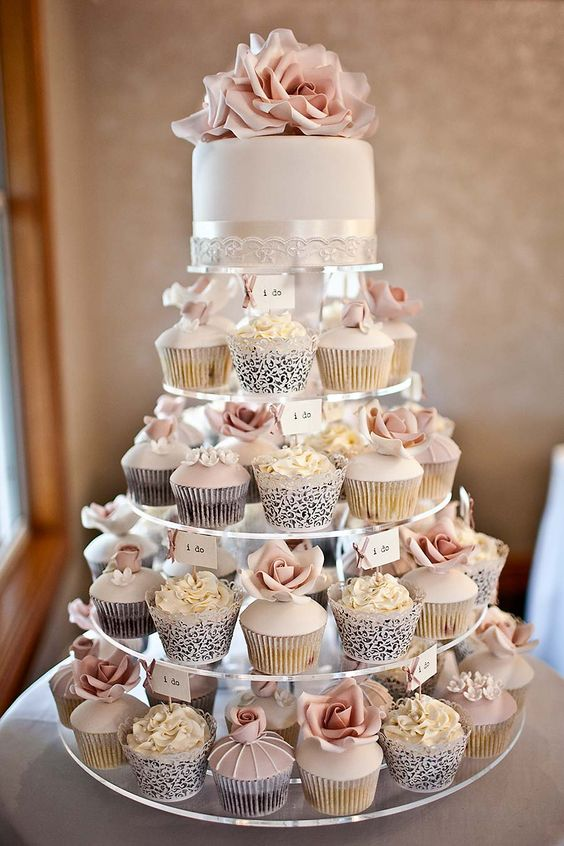 Cupcakes for wedding with I DO tag
