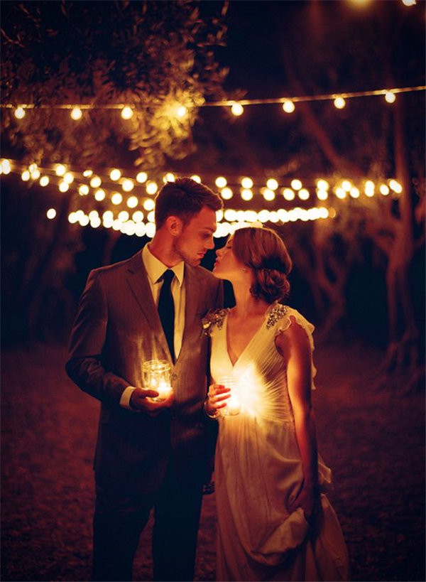 Elegant Night Wedding Photos with Candles