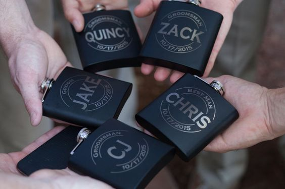 Flasks with Groomsmen's Names