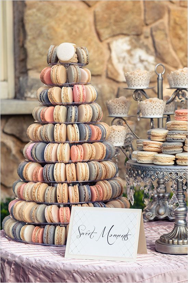 French macaron tower at wedding designed by Weddings Tied With Lace