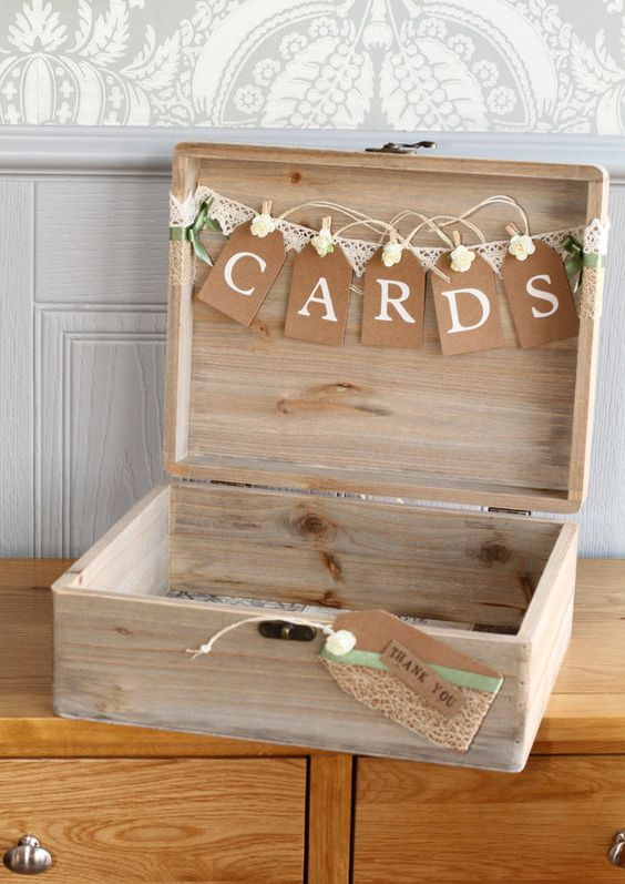 Handmade Personalised Acacia Wood Wedding Card Box
