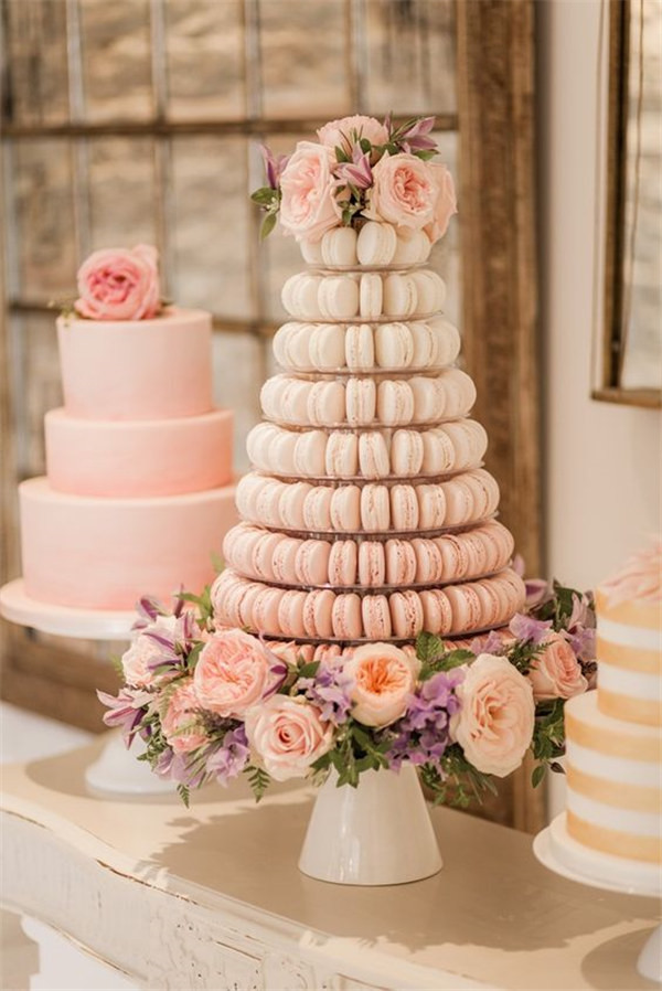 Macaron Wedding Cake With Floral Decoration