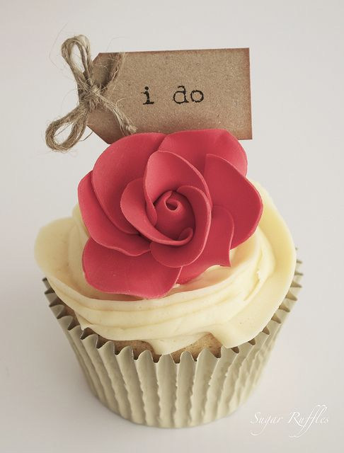 Perfect Red Rose Cupcake I DO