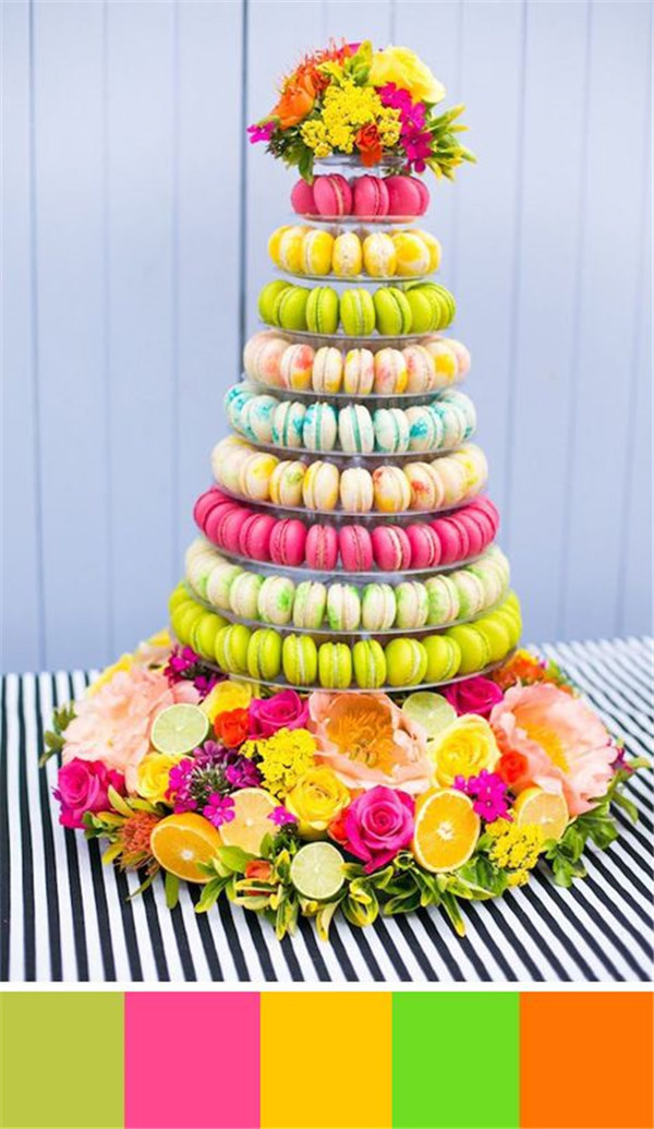 Rainbow theme macaroon cake ideas