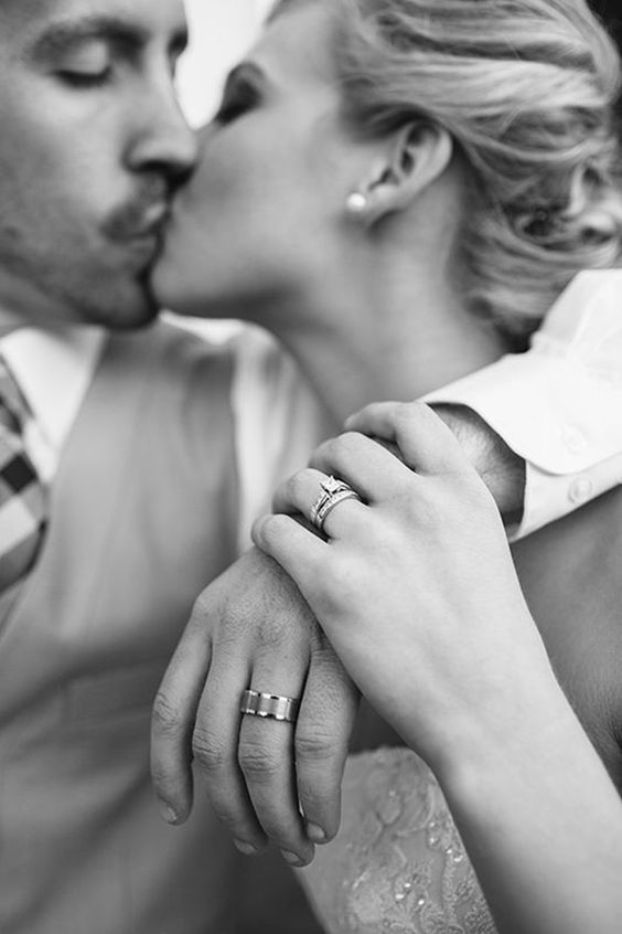 Romantic wedding photos showing of the couple and rings