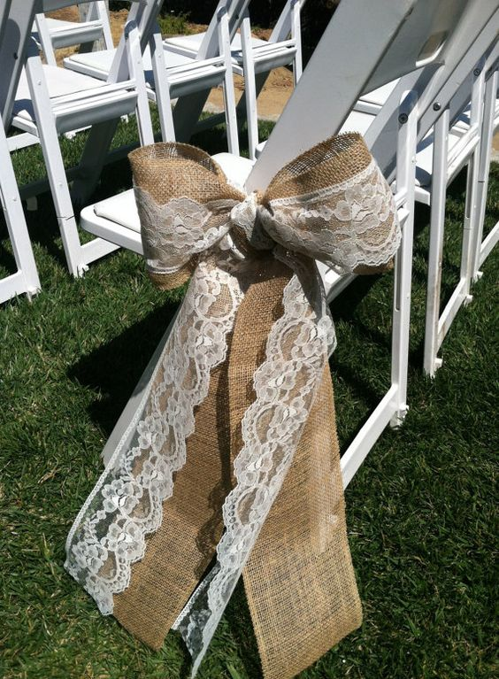 Rustic Burlap and Lace Wedding Chair back bows Aisle Decoration