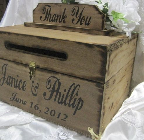Rustic Wedding Card Box I like the idea of a wooden box with a slot