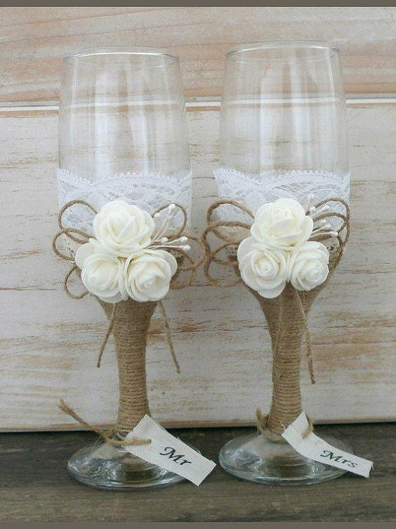 Rustic Wedding Glasses Champagne Flutes Burlap
