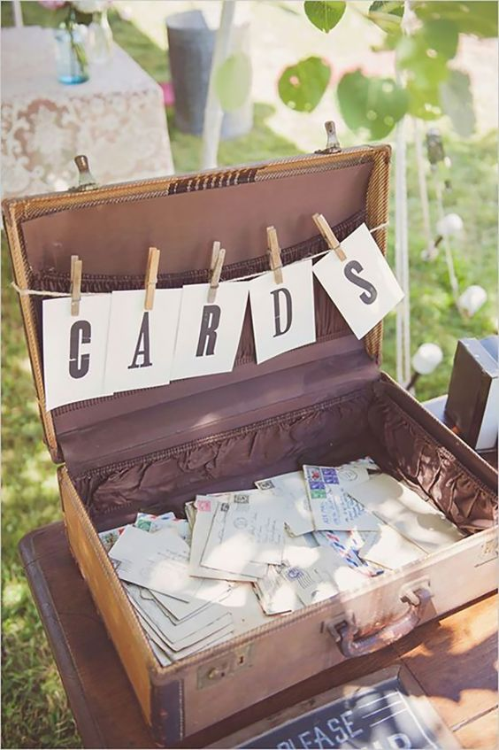 Rustic suitcase Wedding card box ideas