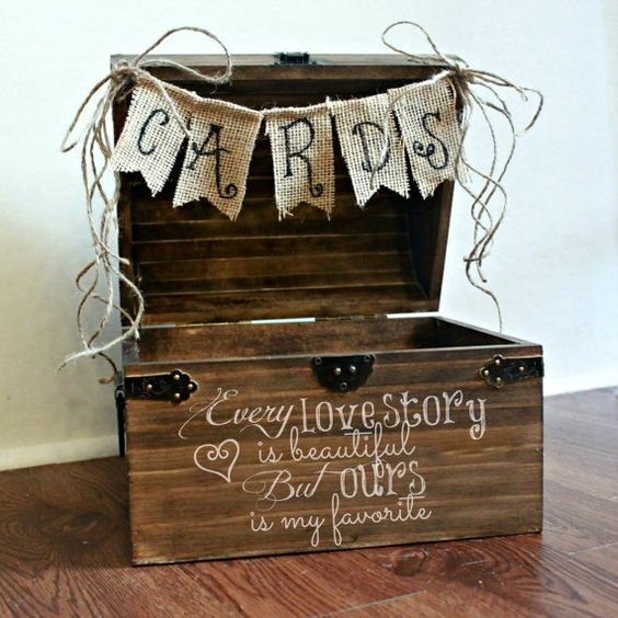 Shabby Chic Rustic Wooden Wedding Card Box
