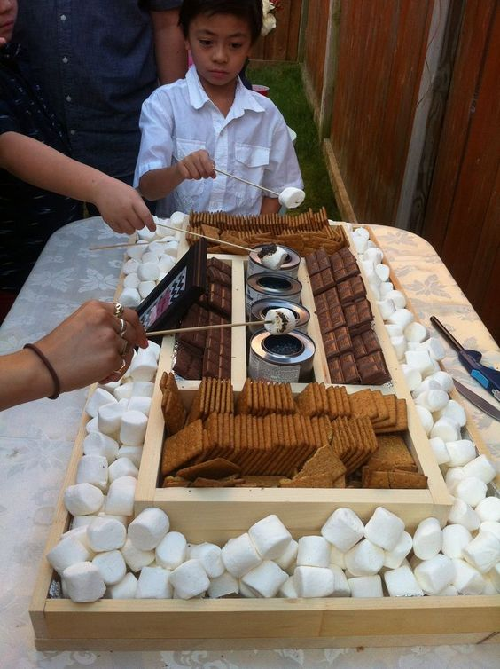 Smores bar setup DIY smores bar Perfect for an outdoor engagement party