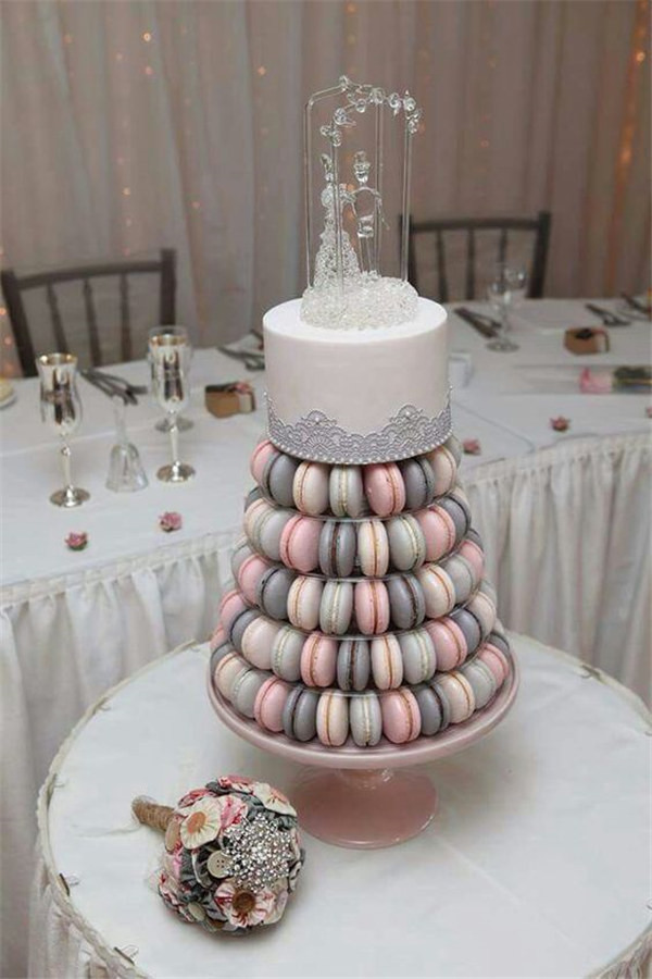 Top off your macaron tower with a petite cake