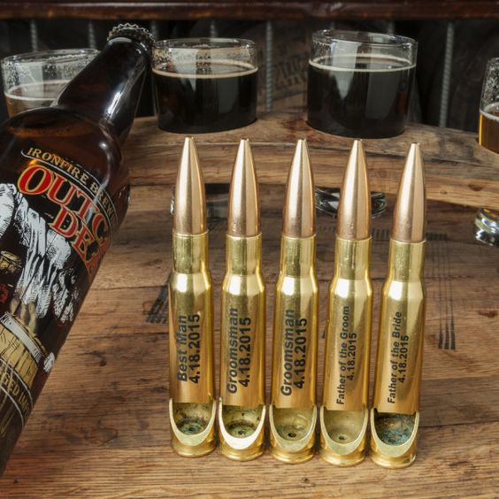 Unique groomsmen gift idea Personalized 50 caliber bullet pens