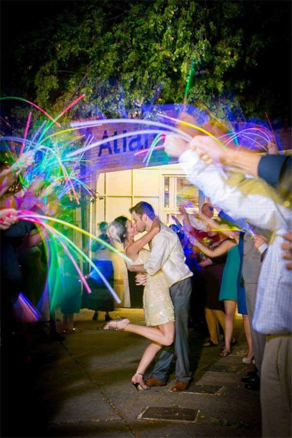 Use glow sticks instead of sparklers for a magical wedding send-off