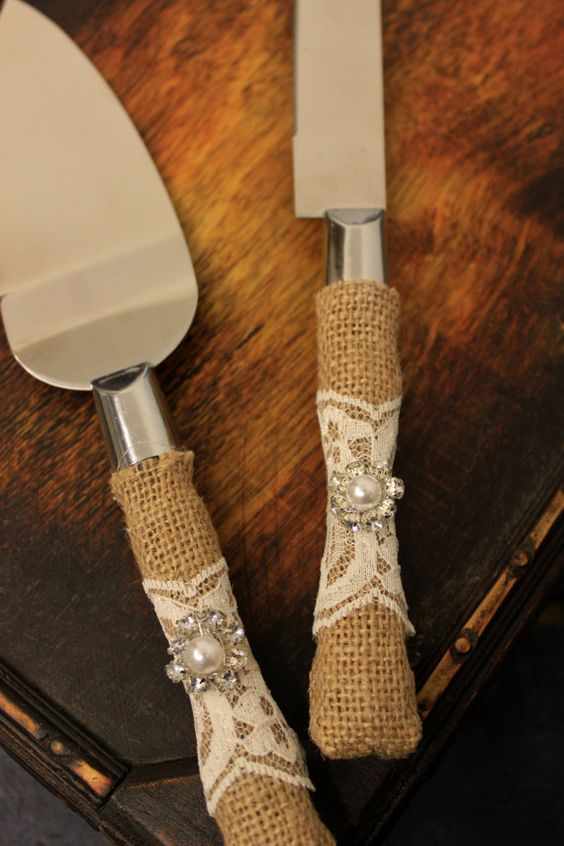 Wedding Cake Server and Knife Burlap and Lace