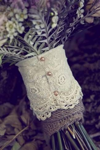 burlap and lace for a bouquet