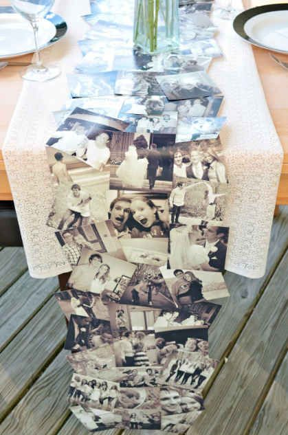 easy DIY photo table runner for engagement party
