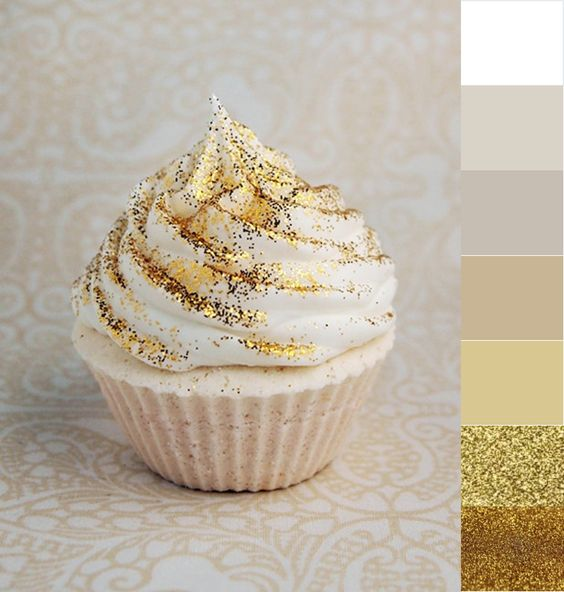 edible gold glitter on desserts and wedding cupcake