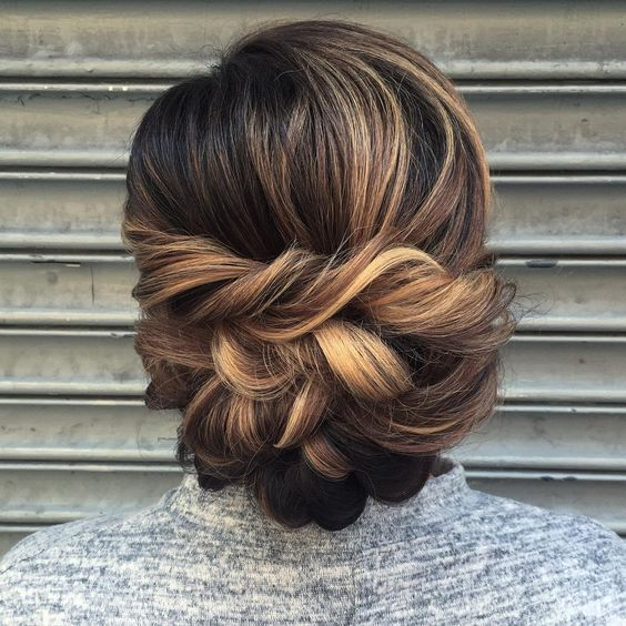 elegant low updo for wedding