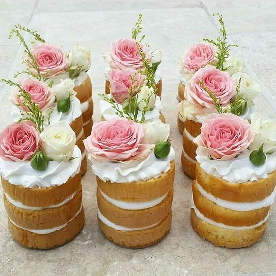 individual naked wedding cakes