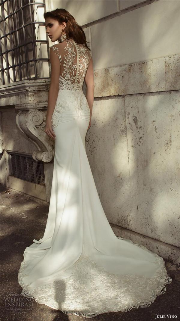 julie vino bridal spring 2017 sleeveless sweetheart illusion high neck sheath wedding dress octavia bv sheer back train