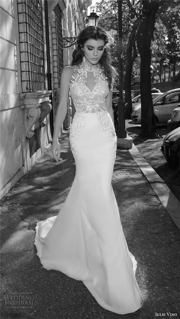 julie vino bridal spring 2017 sleeveless sweetheart illusion high neck sheath wedding dress octavia mv