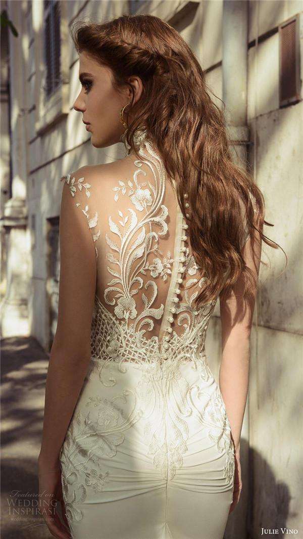 julie vino bridal spring 2017 sleeveless sweetheart illusion high neck sheath wedding dress octavia zbv sheer back train