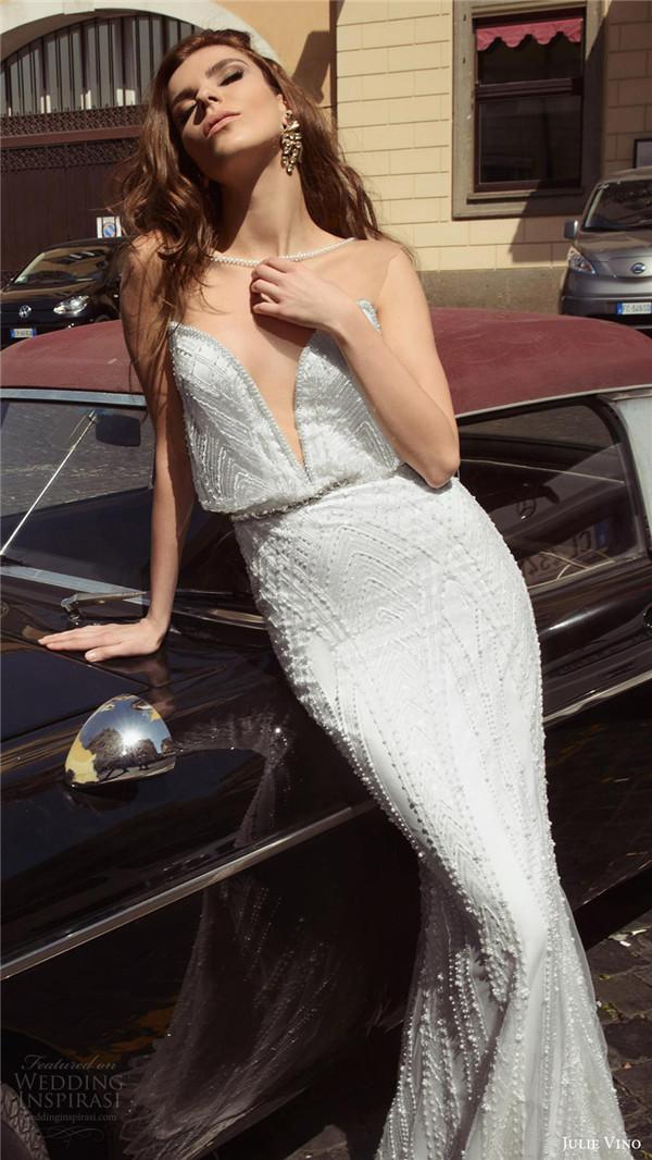 julie vino bridal spring 2017 sleeveless sweetheart illusion jewel neckline blouson wedding dress gina mv